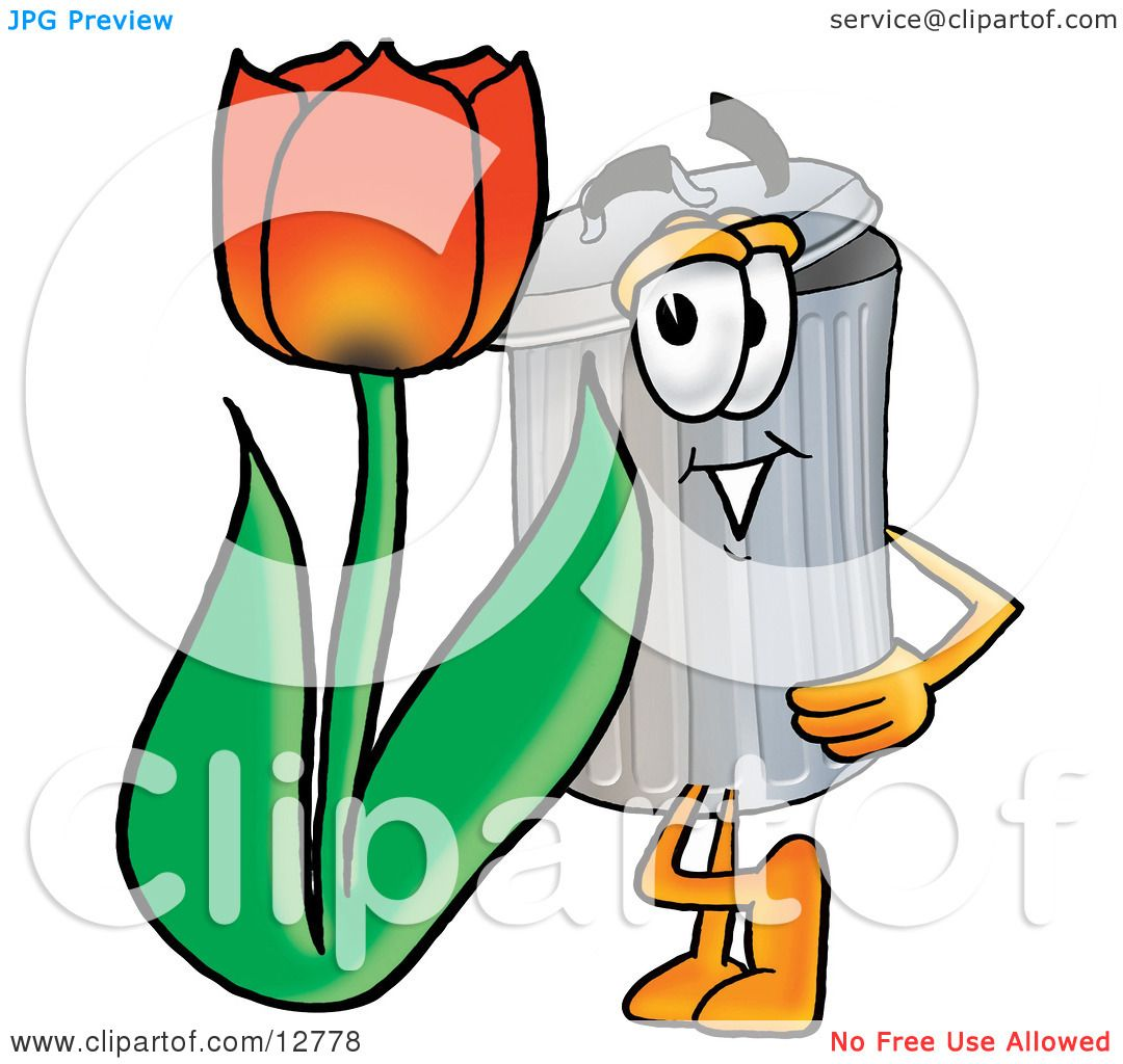 clipart picture of a garbage can mascot cartoon character with a