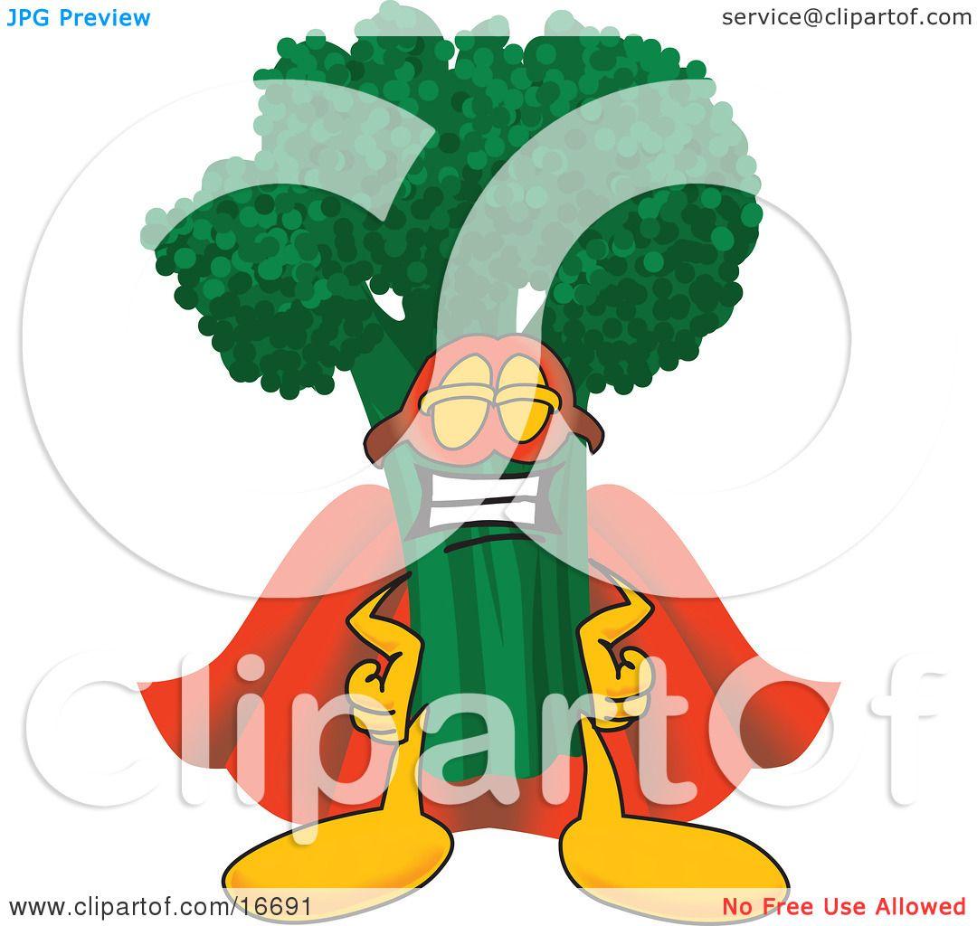 Clipart Picture Of A Green Broccoli Food Mascot Cartoon