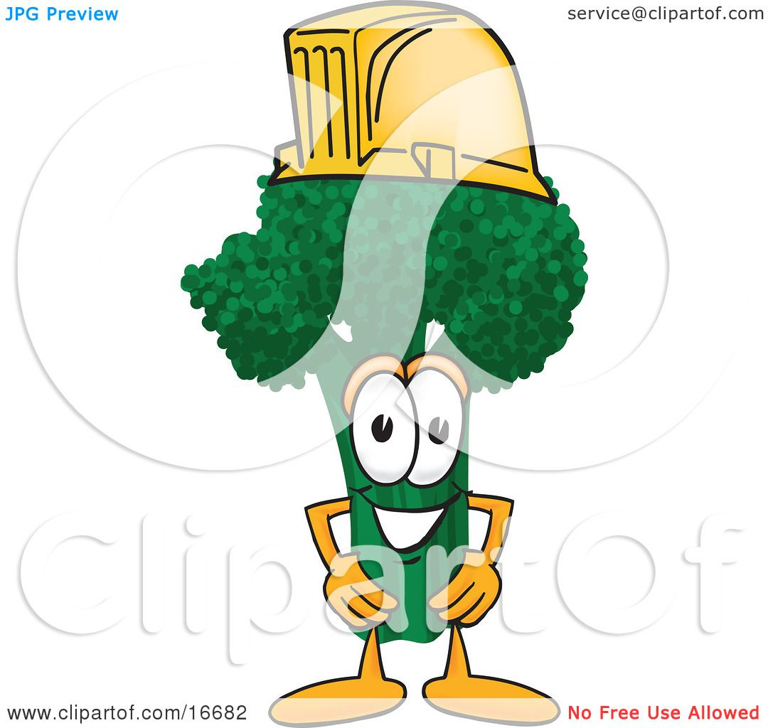 4 Cartoon Characters Wearing Black And Yellow : Clipart picture of a green broccoli food mascot cartoon