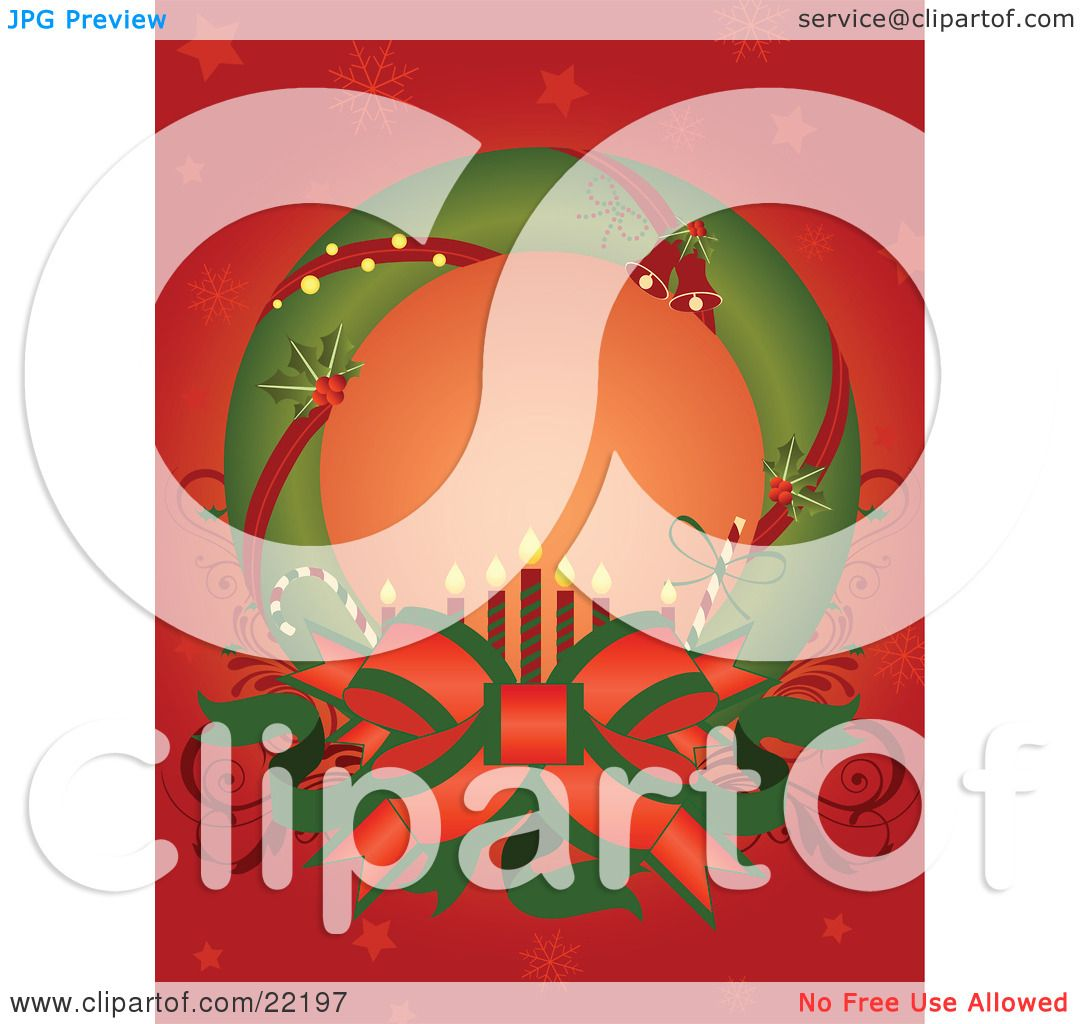 clipart picture of a green christmas wreath adorned with red