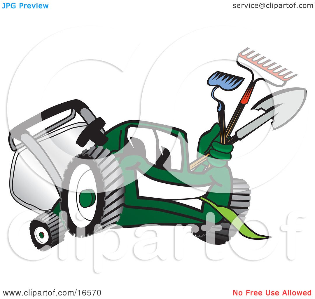 Cartoon Character Design Tool : Clipart picture of a green lawn mower mascot cartoon