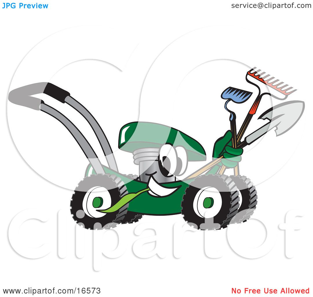 Yard Tools Clip Art Clipart picture of a green