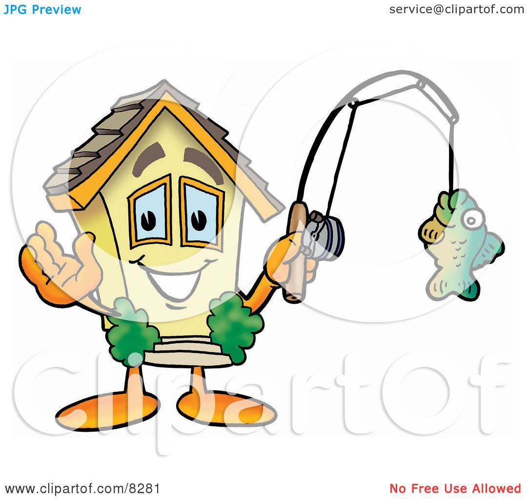 Clipart Picture of a House Mascot Cartoon Character Holding a Fish on a Fishing Pole ...