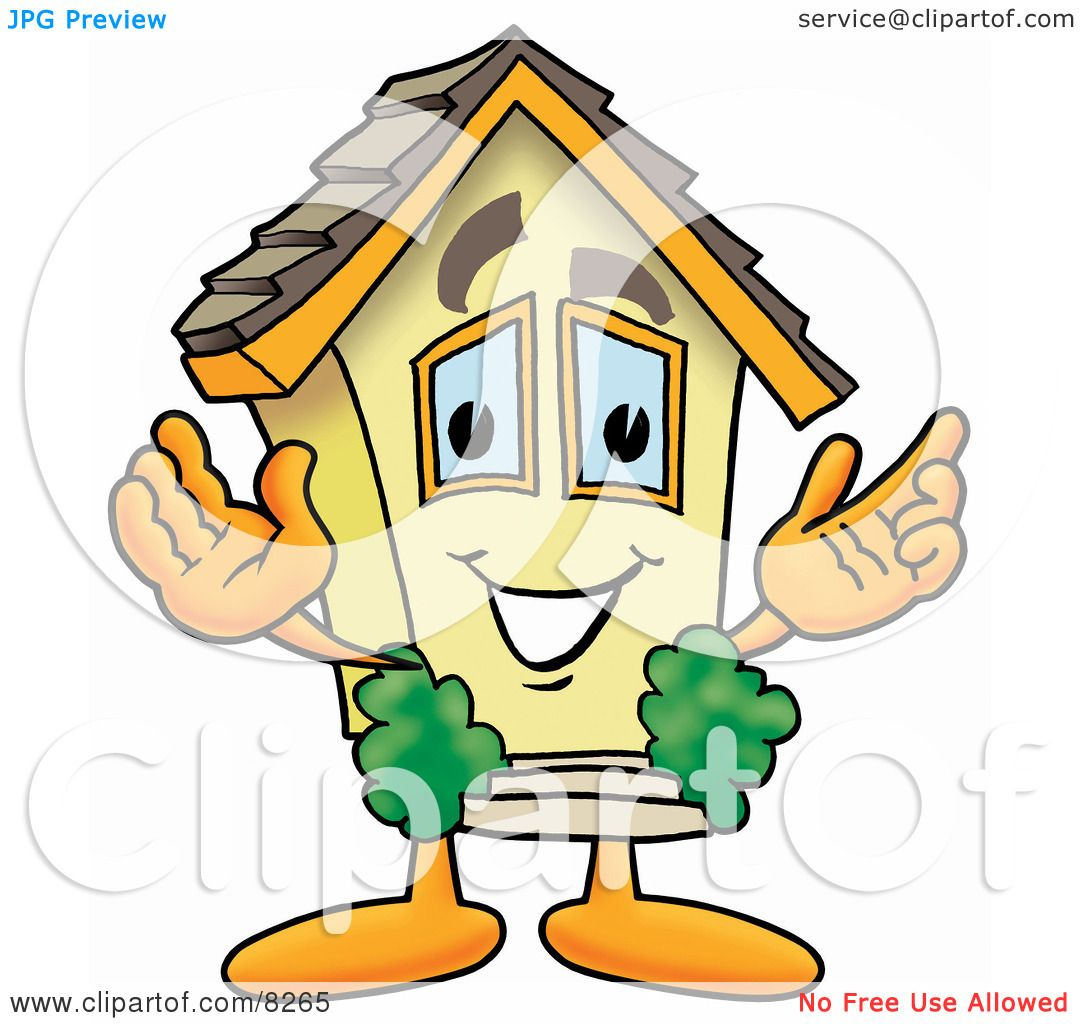 Clipart Picture Of A House Mascot Cartoon Character With