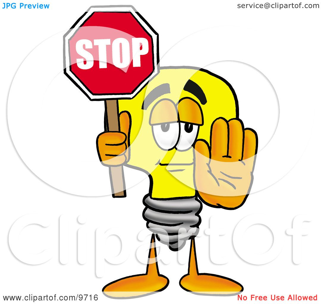 Clipart-Picture-Of-A-Light-Bulb-Mascot-Cartoon-Character-Holding-A ...