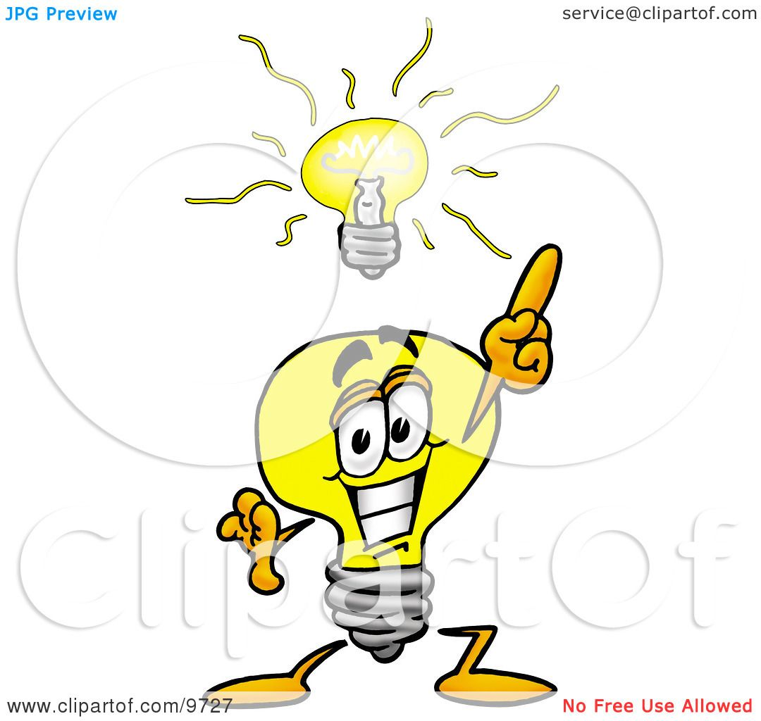 Clipart Picture Of A Light Bulb Mascot Cartoon Character