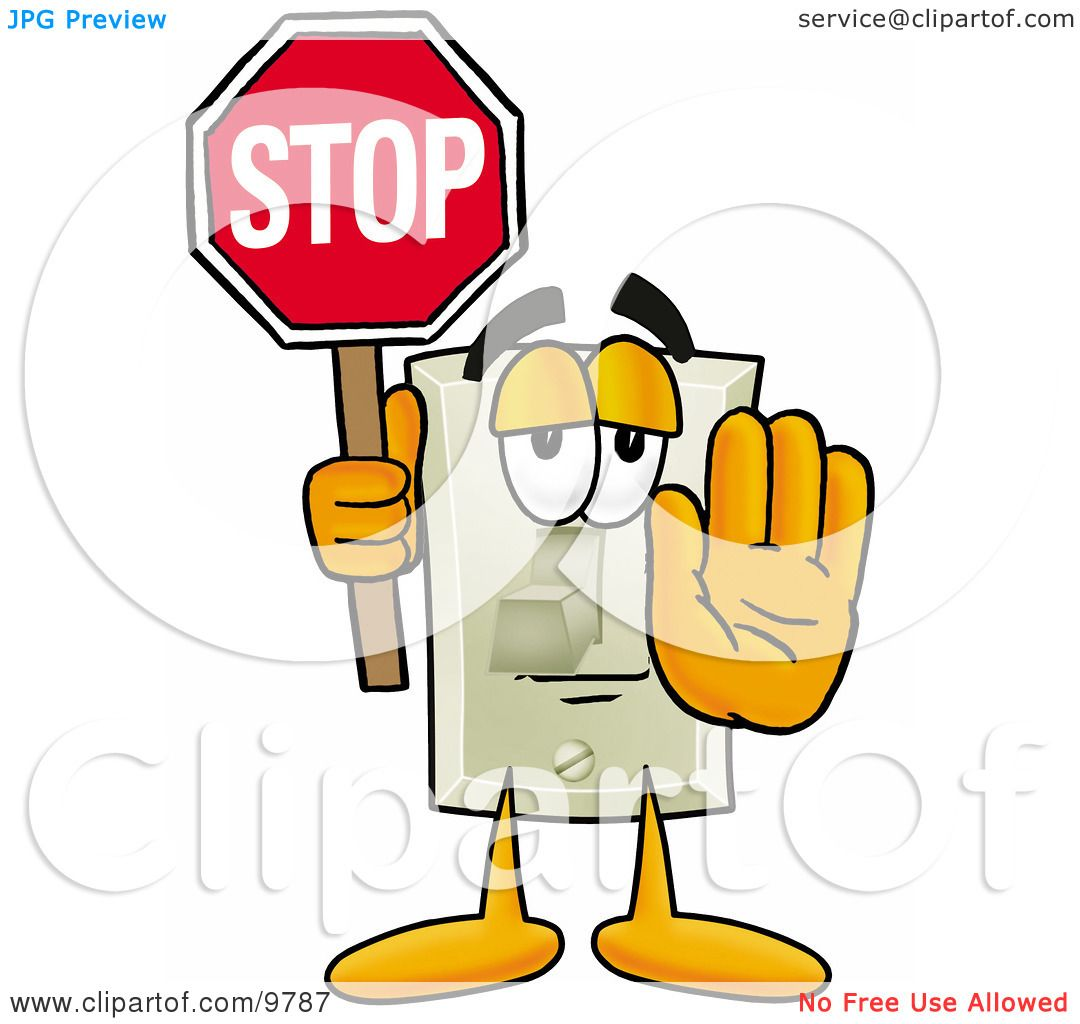light switch clipart. clipart picture of a light switch mascot cartoon character holding stop sign by toons4biz