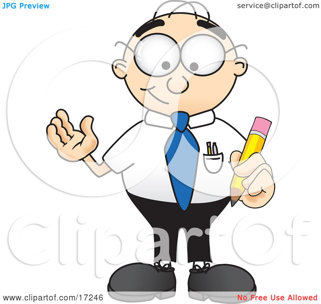 2 Male Cartoon Characters : Clipart picture of a male caucasian office nerd business