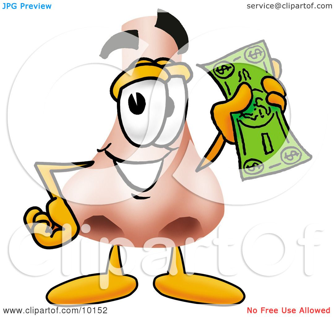 Clipart Picture of a Nose Mascot Cartoon Character Holding ...
