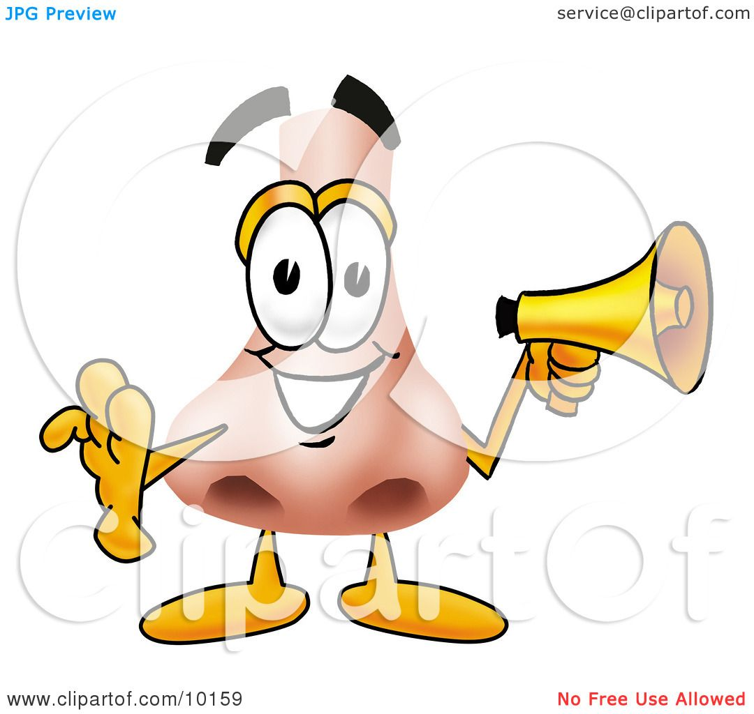 Clipart Picture Of A Nose Mascot Cartoon Character