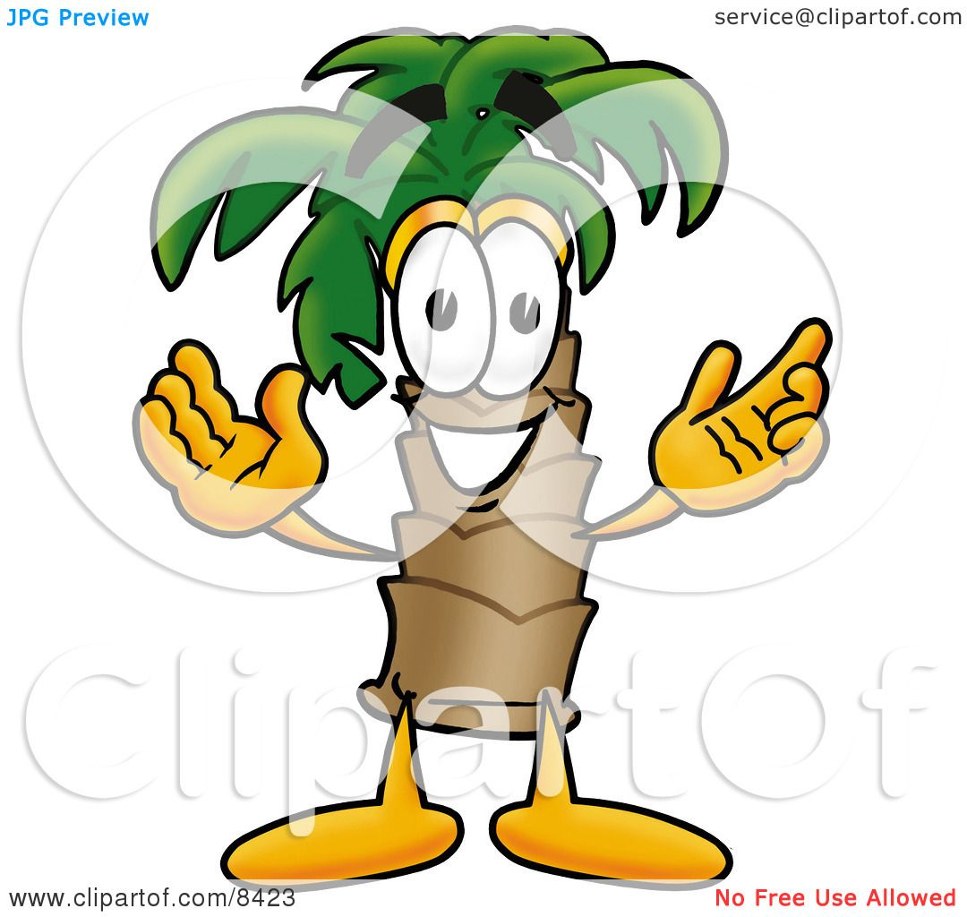 clipart picture of a palm tree mascot cartoon character with