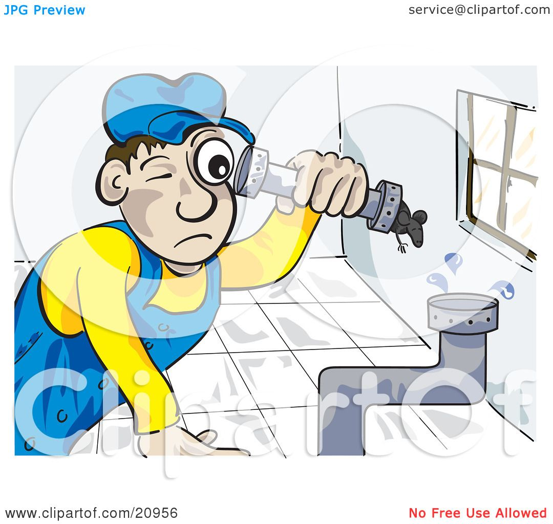 Clipart Picture Of A Pipe Fitter Canalizador Plumber Man
