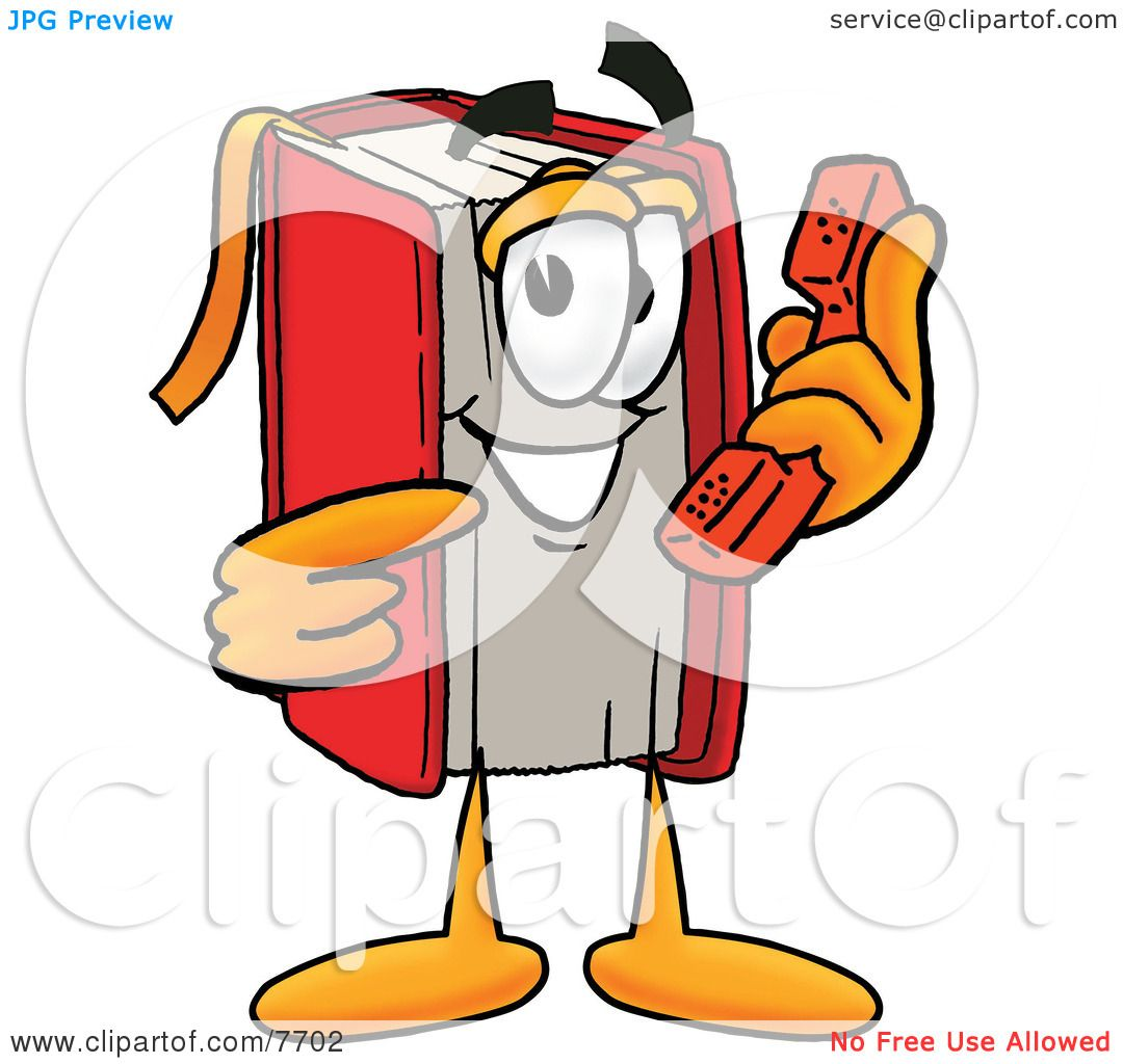Cartoon Characters Phone Numbers : Clipart picture of a red book mascot cartoon character