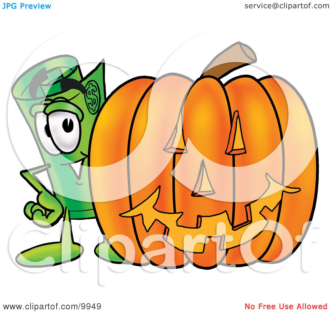 clipart picture of a rolled money mascot cartoon character with a rh clipartof com pumpkin carved clipart pumpkin carving contest clipart