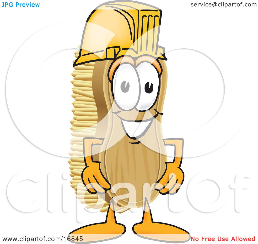 4 Cartoon Characters Wearing Black And Yellow : Clipart picture of a scrub brush mascot cartoon character