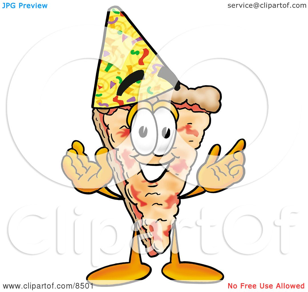 Clipart Picture Of A Slice Pizza Mascot Cartoon Character Wearing Birthday Party Hat By