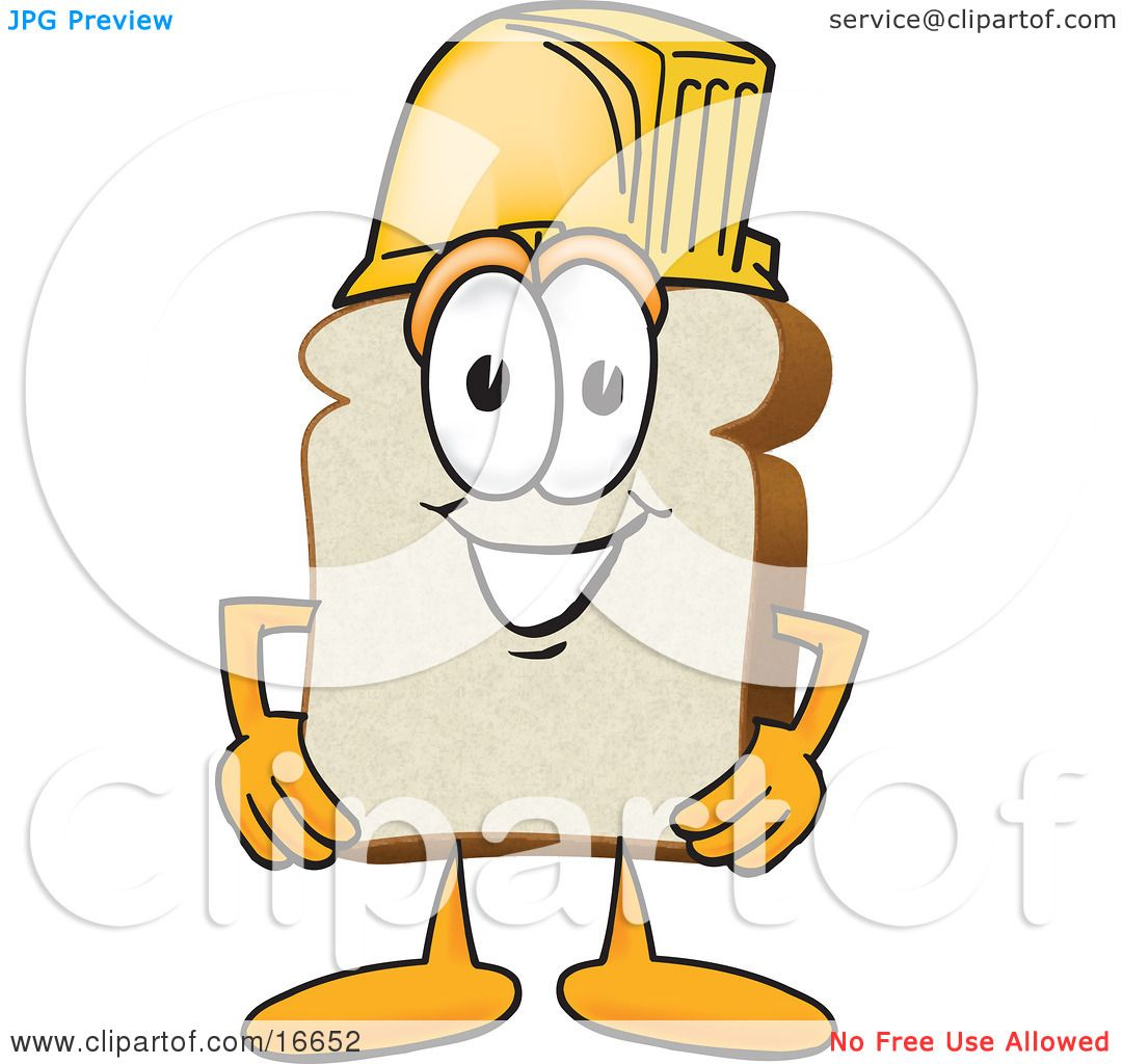 4 Cartoon Characters Wearing Black And Yellow : Clipart picture of a slice white bread food mascot