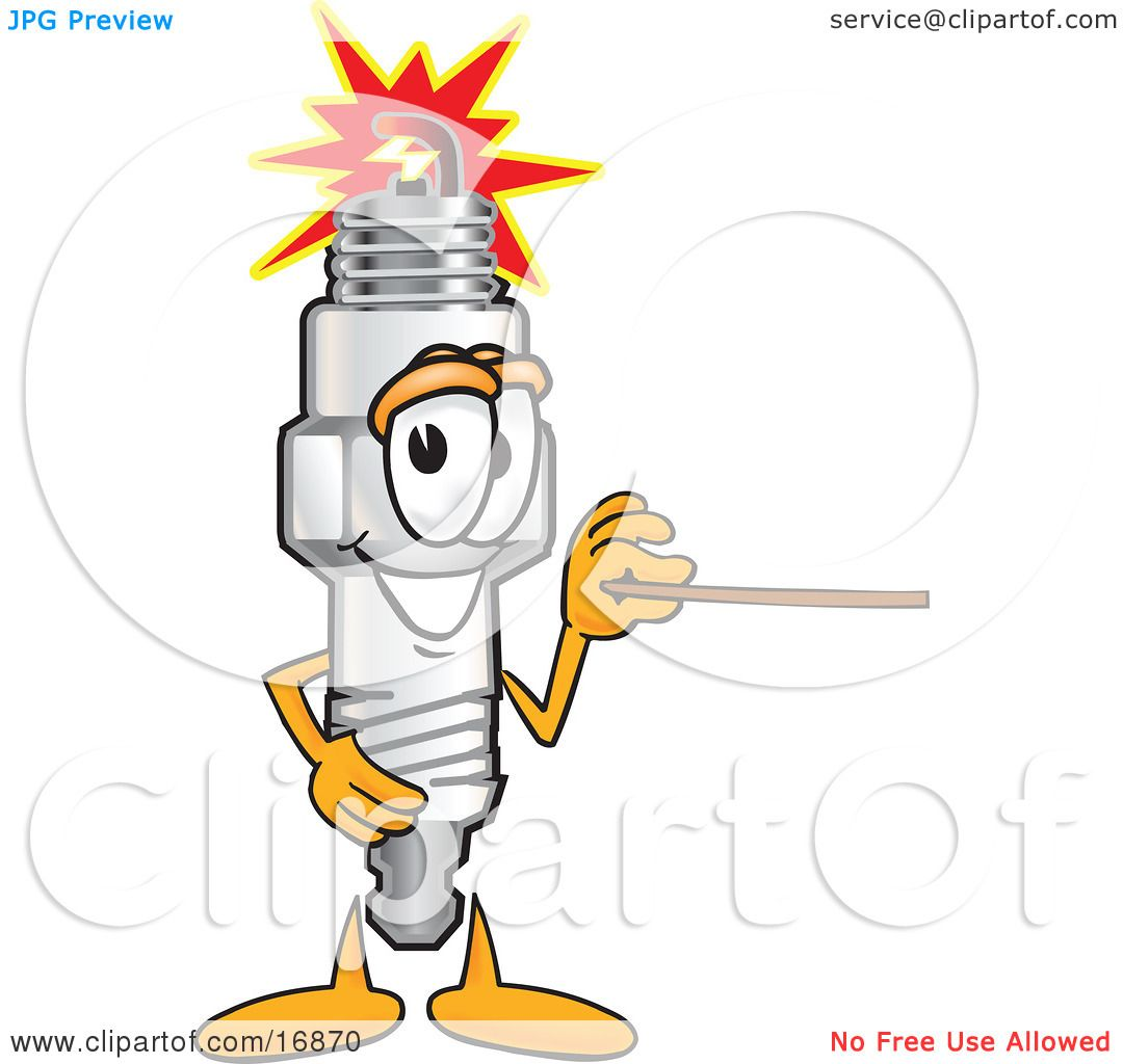 Clipart Picture Of A Spark Plug Mascot Cartoon Character -8961