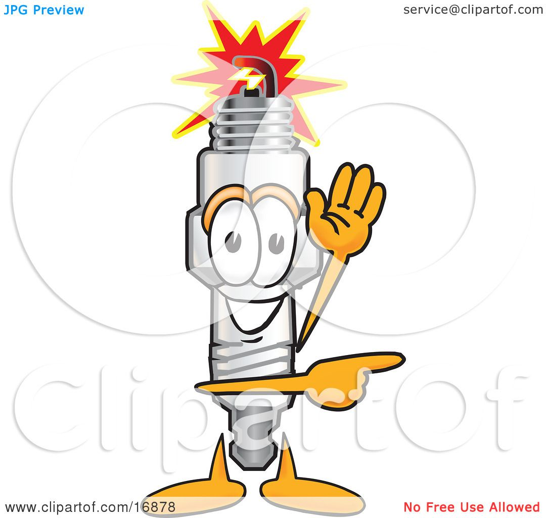 clipart picture of a spark plug mascot cartoon character