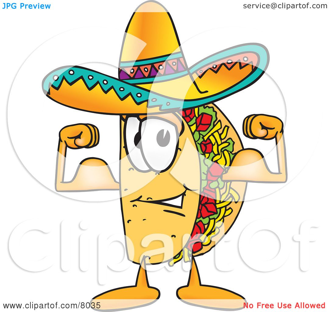 Clipart Picture Of A Taco Mascot Cartoon Character Flexing His Arm