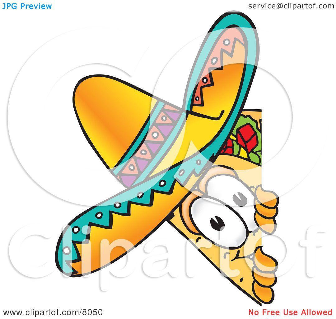 Clipart Picture Of A Taco Mascot Cartoon Character Peeking