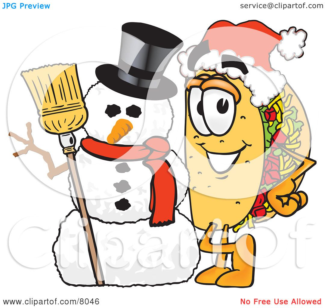 Mr Snowman On Christmas Is Getting Cold Coloring Page: Clipart Picture Of A Taco Mascot Cartoon Character With A