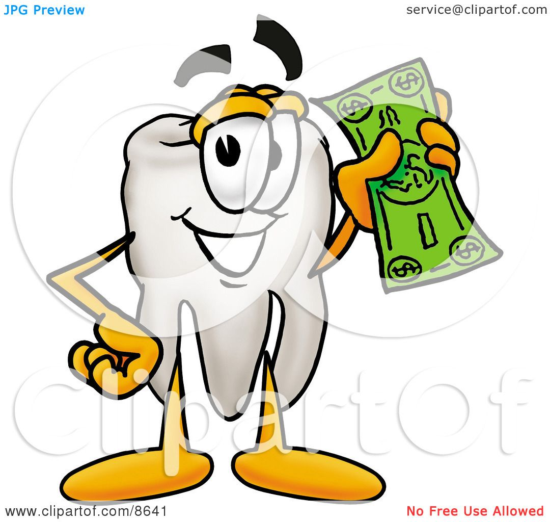 1 Toothed Cartoon Characters : Clipart picture of a tooth mascot cartoon character on