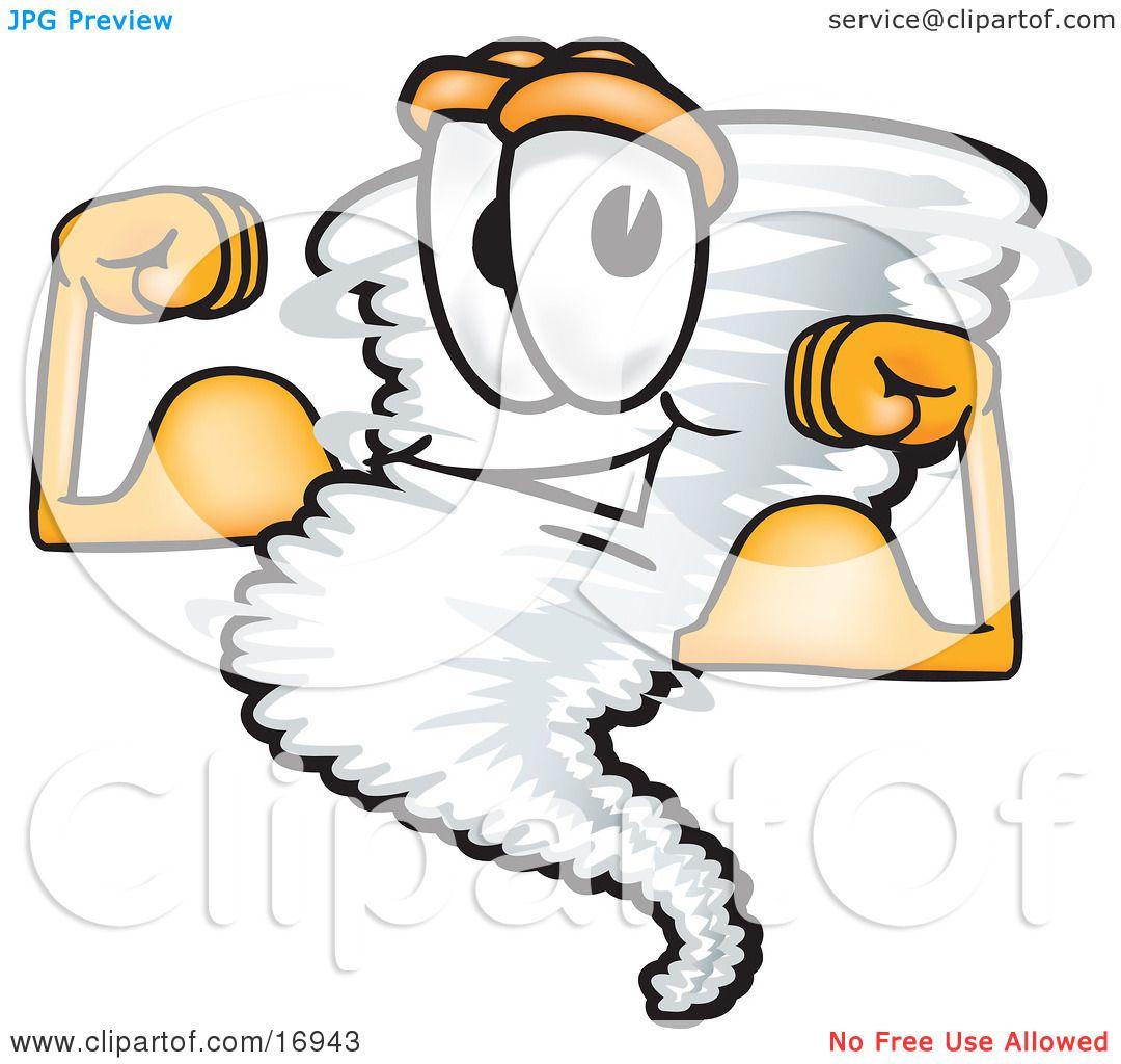 Clipart Picture Of A Tornado Mascot Cartoon Character Flexing His