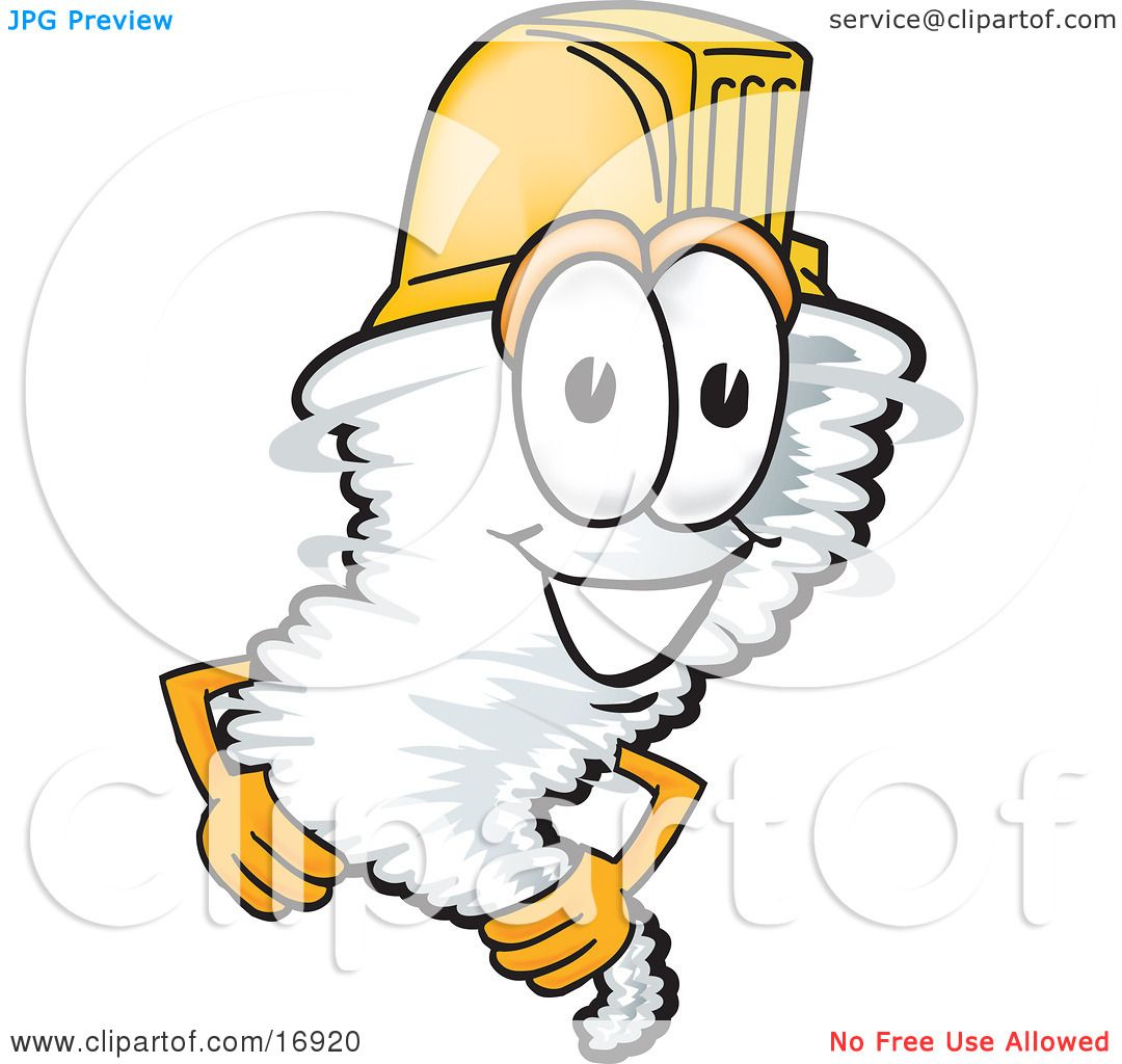 4 Cartoon Characters Wearing Black And Yellow : Clipart picture of a tornado mascot cartoon character