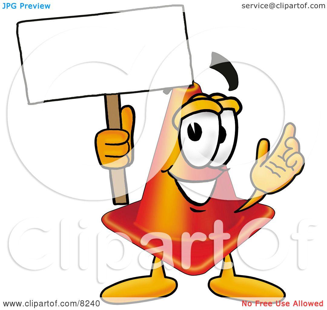 Traffic Cone Cartoon of a Traffic Cone Mascot