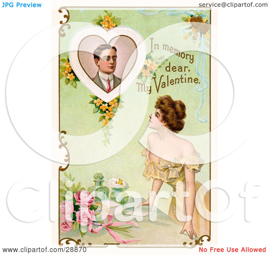 Text reading in memory dear my valentine circa 1910 by oldpixels