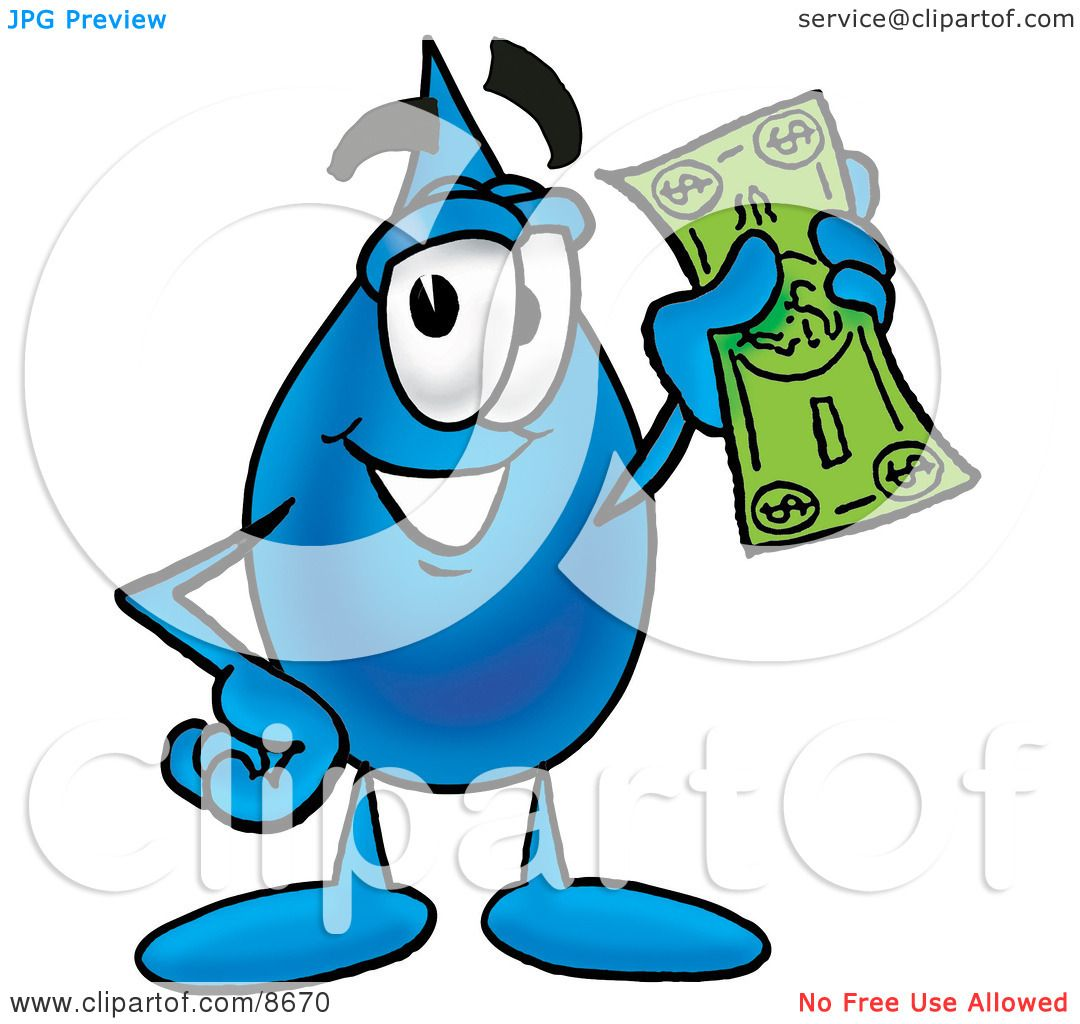 Clipart Picture Of A Water Drop Mascot Cartoon Character Holding