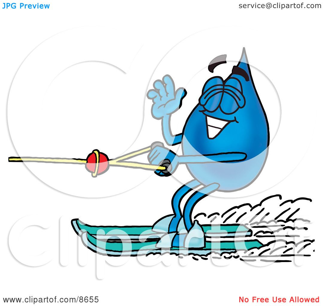 Clipart Picture of a Water Drop Mascot Cartoon Character Waving ...