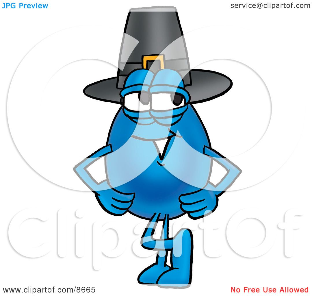 clipart picture of a water drop mascot cartoon character wearing a