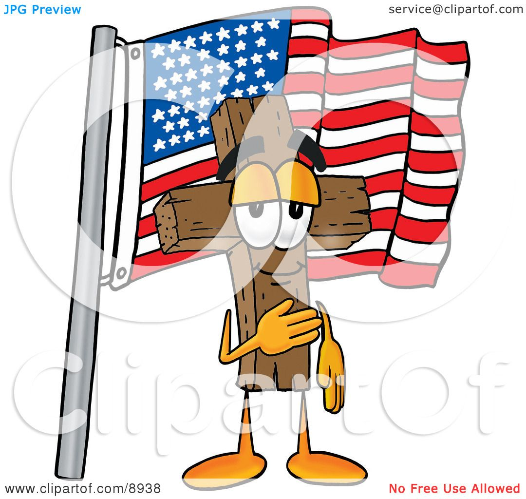 clipart picture of a wooden cross mascot cartoon character