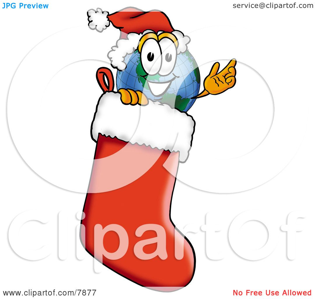 Cartoon Christmas Stocking Earth globe mascot cartoon