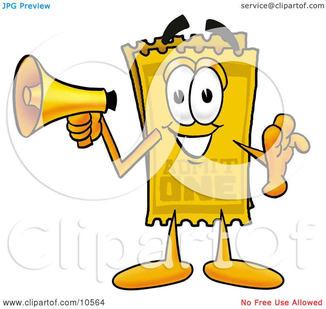 Cartoon Characters Yellow : Clipart picture of a yellow admission ticket mascot
