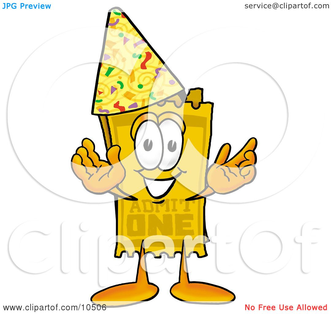 4 Cartoon Characters Wearing Black And Yellow : Clipart picture of a yellow admission ticket mascot