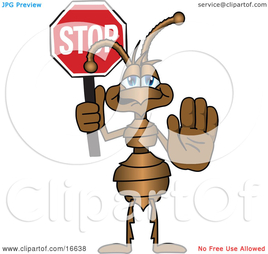 Cartoon Characters Holding Hands : Clipart picture of an ant bug mascot cartoon character