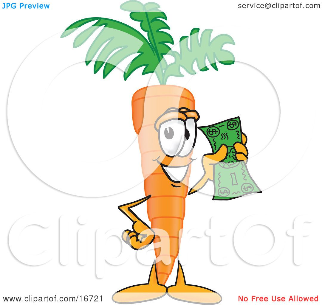 Clipart picture of an orange carrot mascot cartoon character holding