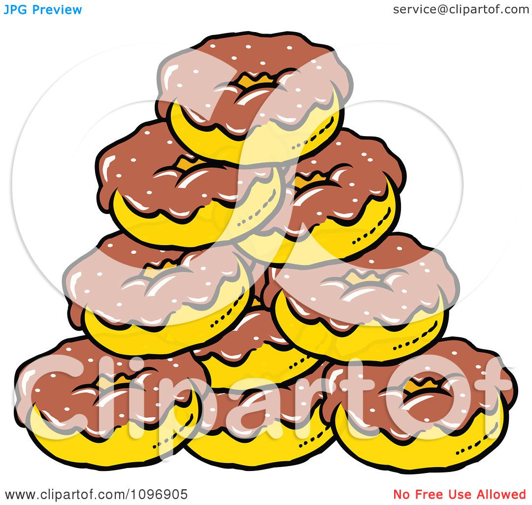 Larger preview vector clip art of a happy yellow coffee cup character - Clipart Pile Of Chocolate Frosted Donuts Royalty Free Vector Illustration Preview Clipart