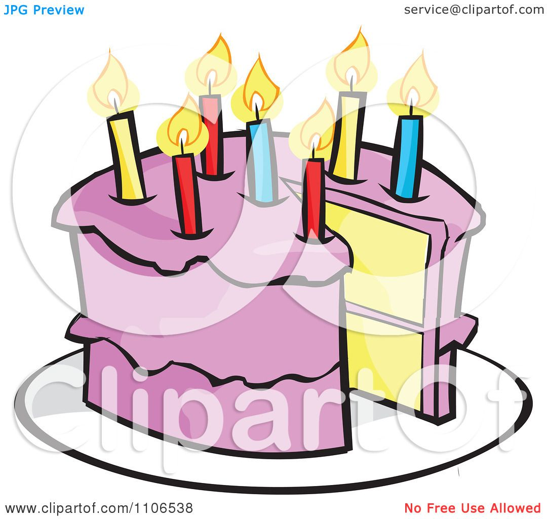 Clipart Pink Birthday Cake With A Candle And Missing Piece Royalty
