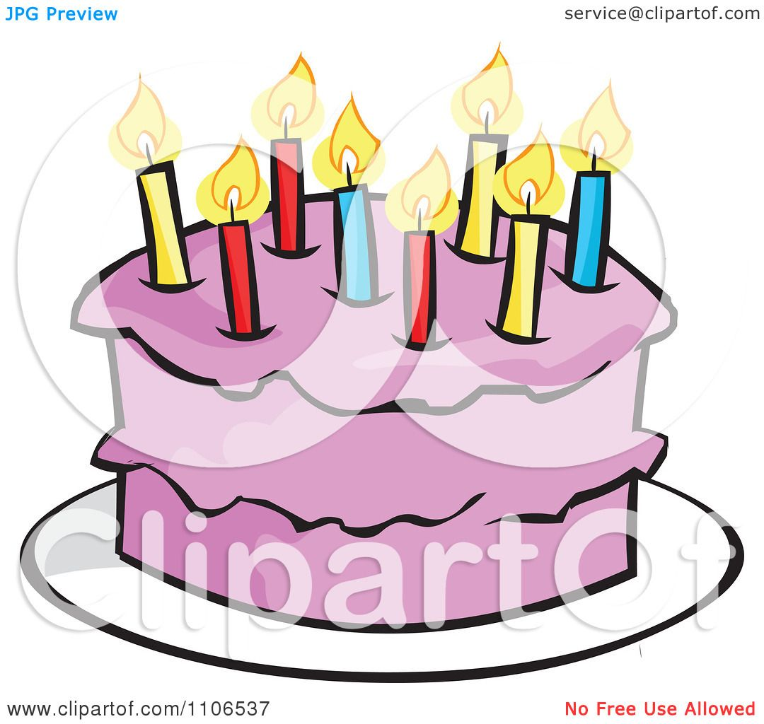 Clipart Pink Birthday Cake With A Candle Royalty Free Vector