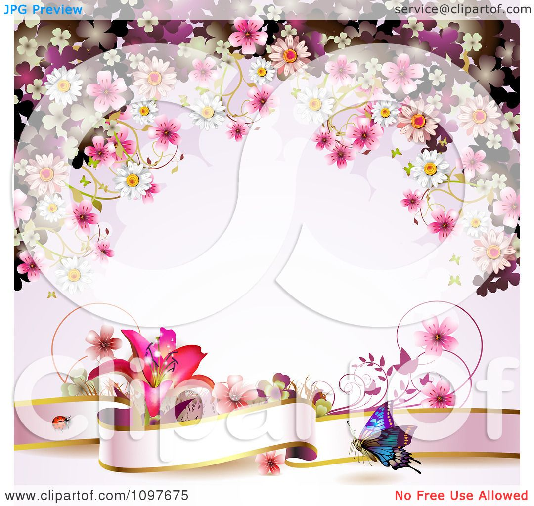 Clipart Pink Floral Blossom Wedding Background With A Lily