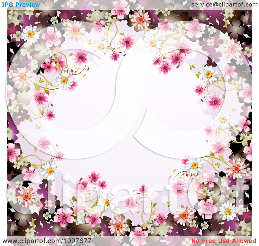Clipart Pink Floral Blossom Wedding Border - Royalty Free Vector ...
