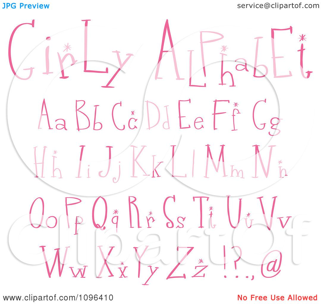 clipart pink girly lowercase and capital letters