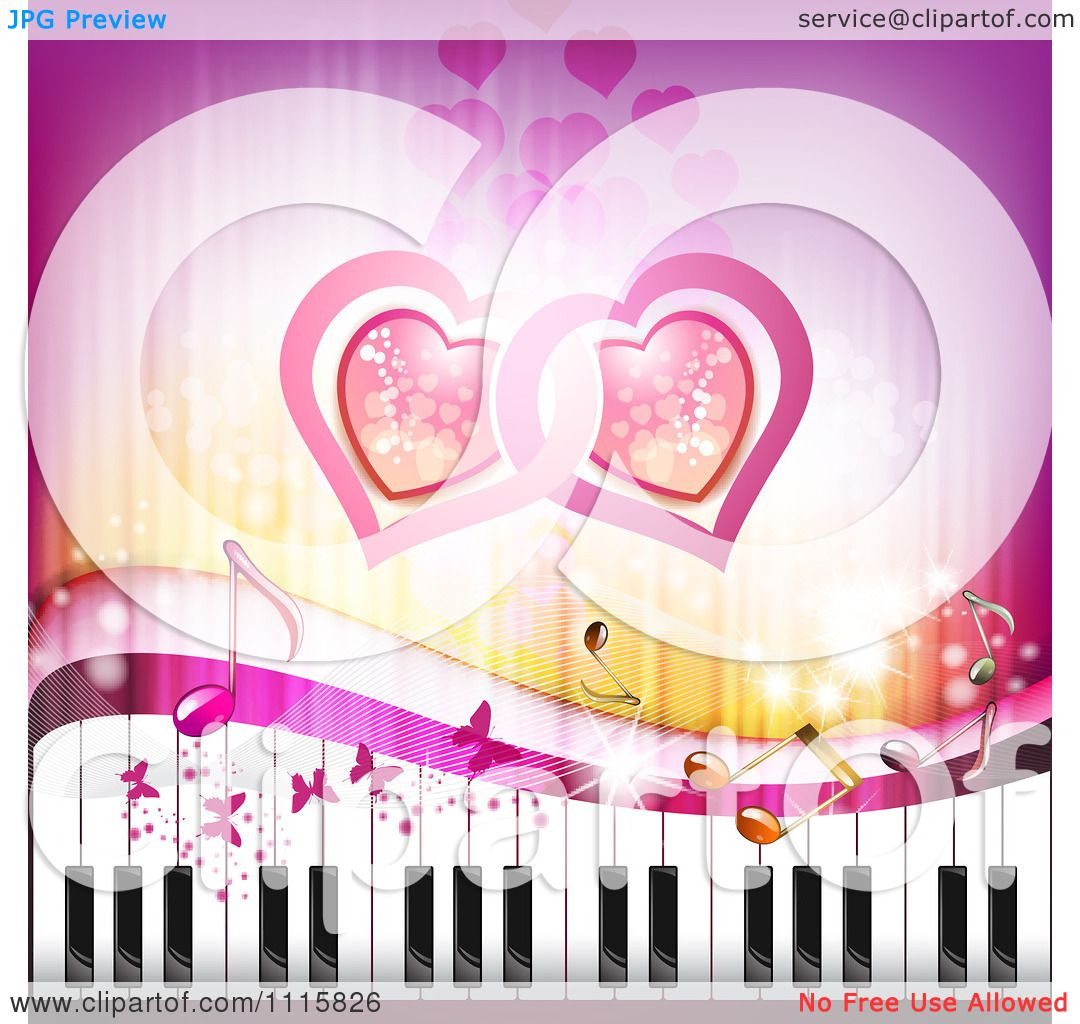 Clipart Pink Piano Keyboard Music Note Heart And Butterfly ...
