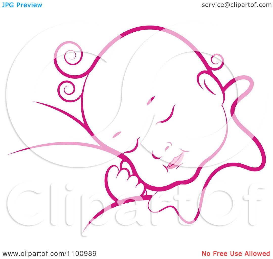 Royalty Free Clipart Illustration Of A Pink Sleeping Baby On White