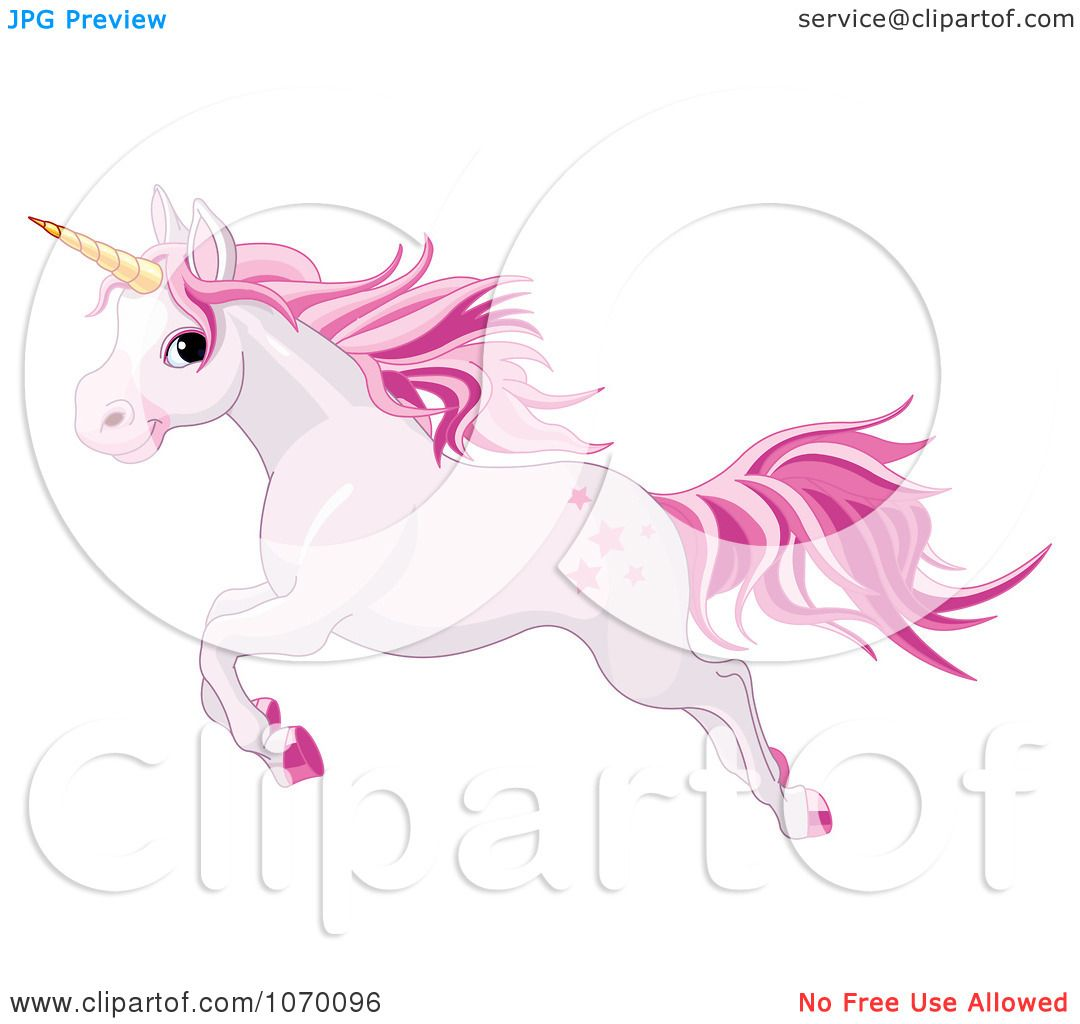 Clipart Pink Unicorn Leaping Royalty Free Vector