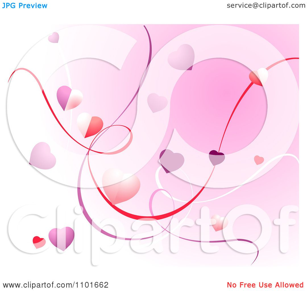 Clipart Pink Valentine Background Of Ribbons And Hearts - Royalty ...